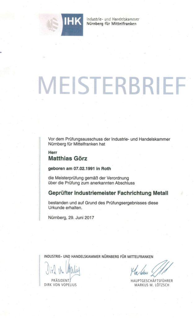 Meisterbrief Matthias Görz